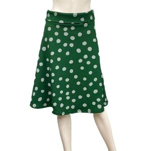 LuLaRoe Green with White Polka Dots Skirt Size S